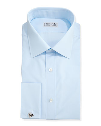 Solid Poplin French-Cuff Shirt, Light Blue