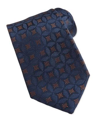 Medallion Pattern Silk Tie, Brown/Blue