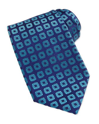 Circle-Medallion Silk Tie, Light Blue