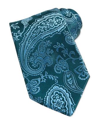 Paisley Silk Tie, Blue/Green