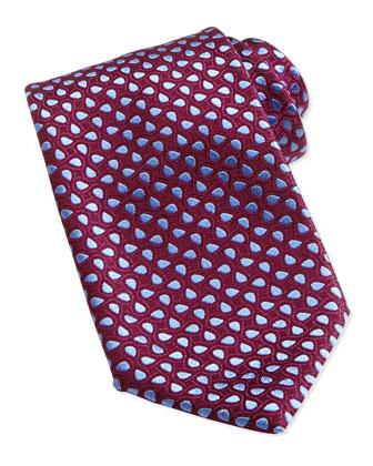 Teardrop-Patterned Tie, Burgundy/Blue