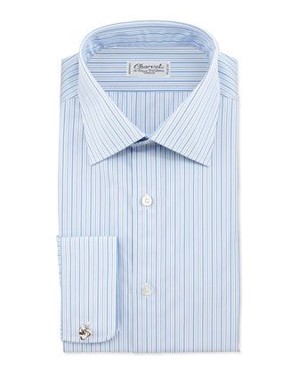 Striped French-Cuff Dress Shirt, Blue/White Stripe