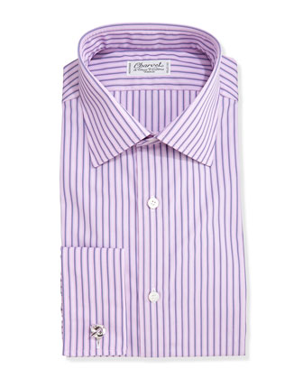 Striped French-Cuff Dress Shirt, Blue/Pink