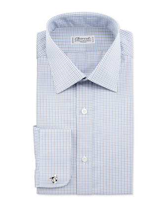 Check French-Cuff Dress Shirt, White/Blue/Brown