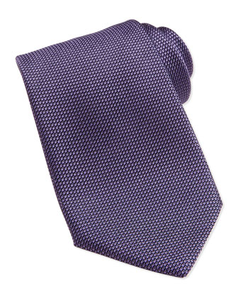 Gauze-Pattern Silk Tie, Purple