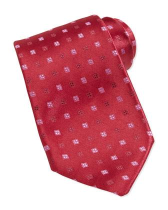 Neat Square Silk Tie, Burgundy/Pink