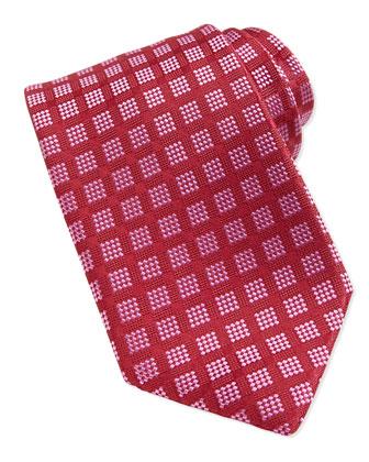 Windows Pattern Woven Tie, Burgundy/Pink