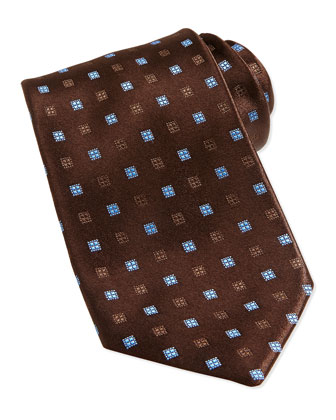 Neat Square Silk Tie, Brown/Light Blue