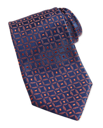 Medallion-Print Silk Tie, Blue/Orange