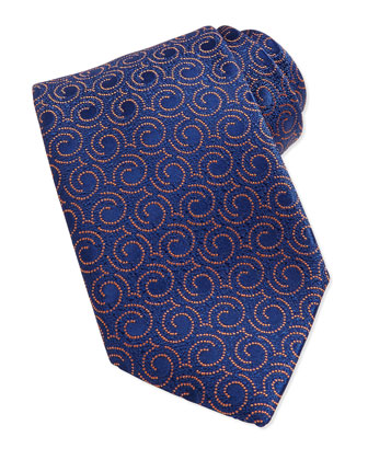 Swirl Pattern Silk Tie, Blue/Orange