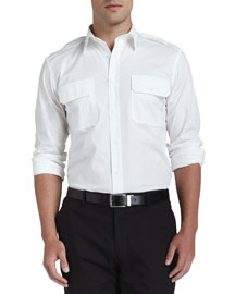 Poplin Military Shirt, White