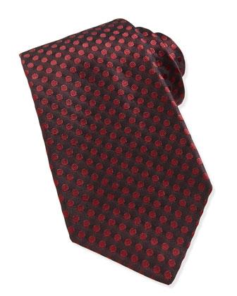 Polka-Dot Pattern Tie, Dark Red