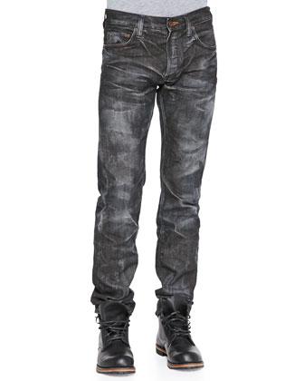 Demon Straight Leg Jeans, Black Wash