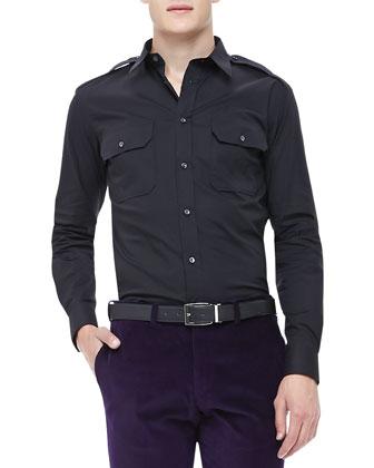 Poplin Military Shirt, Black