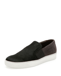 Calf Hair & Suede Skate Shoe, Black