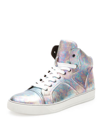 Pearlized Leather High-Top Sneaker