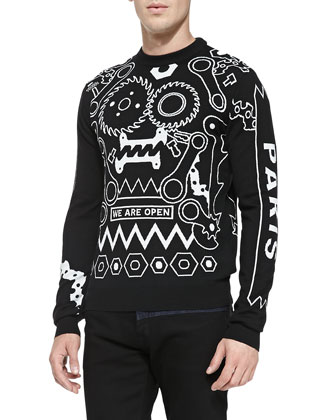 Tools Intarsia-Knit Crewneck Sweater, Black/White