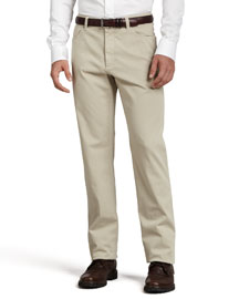 Five-Pocket Brushed Cotton Pants, Plaster (Khaki)