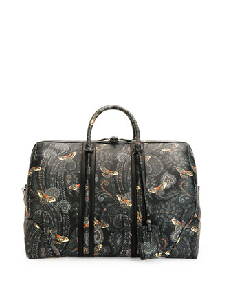 Paisley-Print Leather Weekender Bag, Black