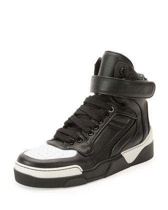 Tyson Cap-Toe Leather High-Top Sneaker, Black/White