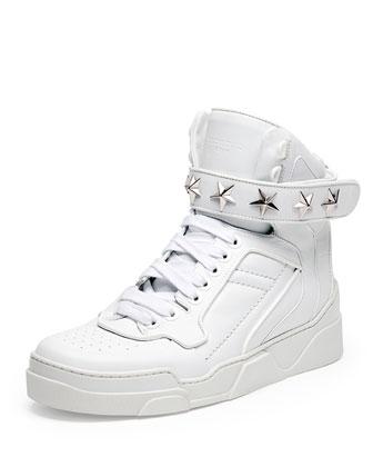Tyson Cap-Toe Leather High-Top Sneaker, White/Black