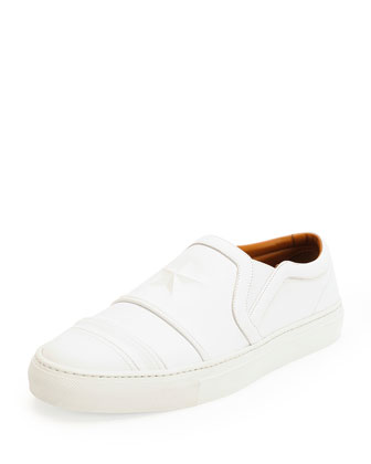 Star and Stripe Debossed Skate Shoe, White