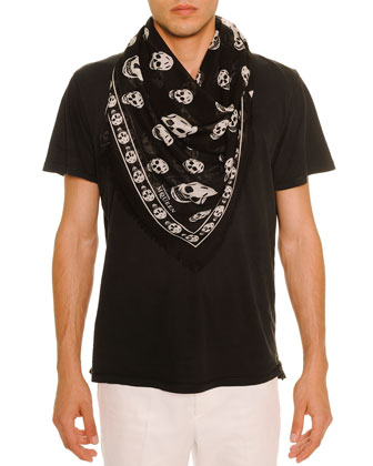 Men's Skull-Print Modal/Silk Scarf, Black/White