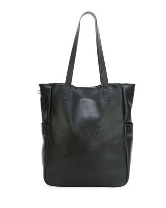 Men's Perforated Skull Tote Bag, Black