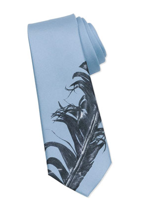 Feather-Print Silk Tie, Blue