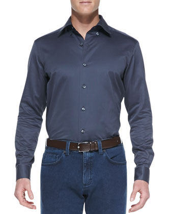 Solid Sateen Shirt, Charcoal