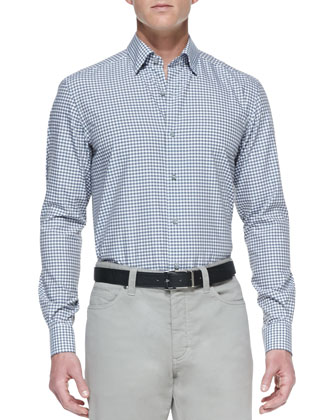 Poplin Microcheck Sport Shirt, Open Finish