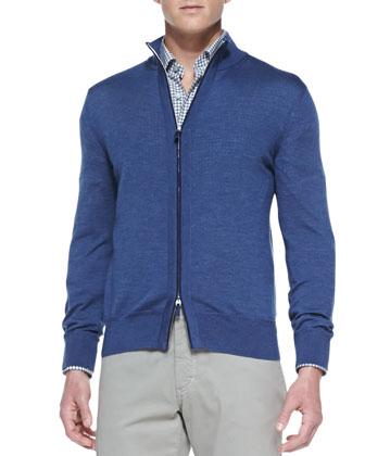 High-Collar Wool-Silk Zip Cardigan, Blue