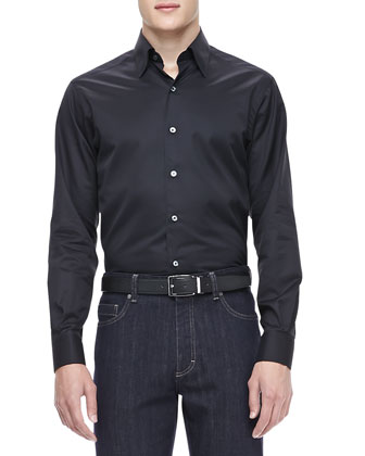 3-Ply Cotton Shirt, Black