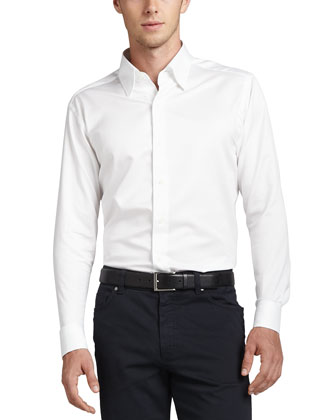 3-Ply Cotton Dress Shirt, White