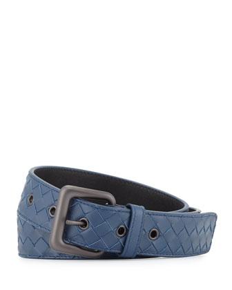 Intrecciato Woven Buckle Belt, Dark Gray