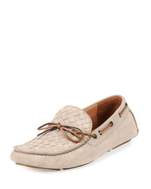 Suede Woven Driver, Beige