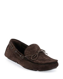 Suede Woven-Front Driver, Chocolate