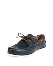 Woven Leather Boat Shoe, Navy
