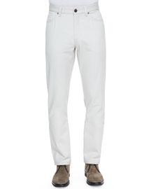 Cotton/Cashmere Five-Pocket Pants, Cream
