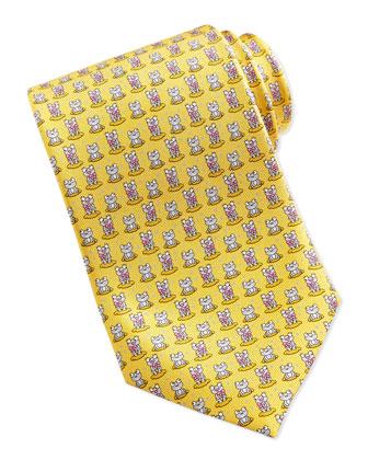 Silk Frog-Print Tie, Yellow/Pink