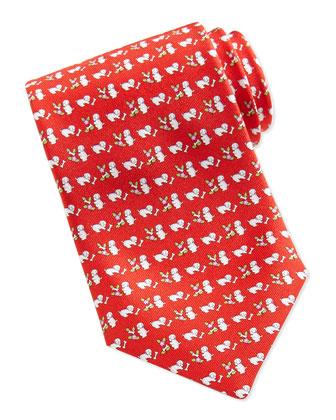 Silk Dog/Flower-Print Tie, Red