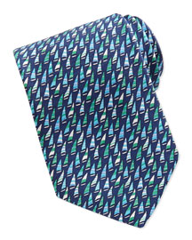 Silk Woven Sailboat-Print Tie, Blue