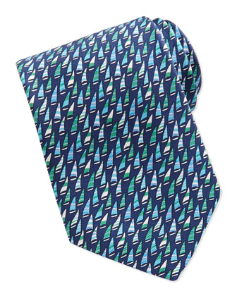 Silk Woven Sailboat-Print Tie, Blue