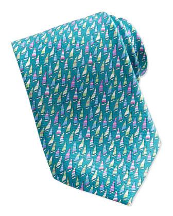 Silk Woven Sailboat-Print Tie, Turquoise