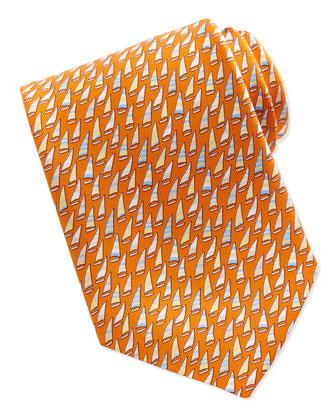 Silk Sailboat-Print Tie, Orange
