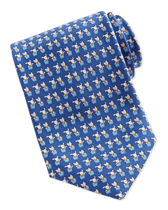 Bunny and Cat-Print Tie, Blue