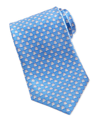 Silk Hippo-Print Tie, Blue