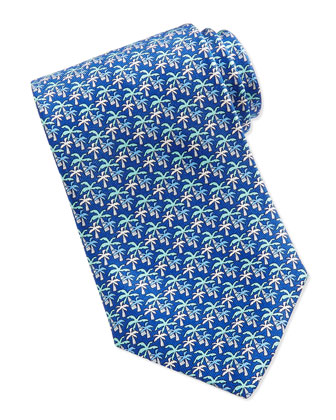 Silk Palm Tree-Print Tie, Blue
