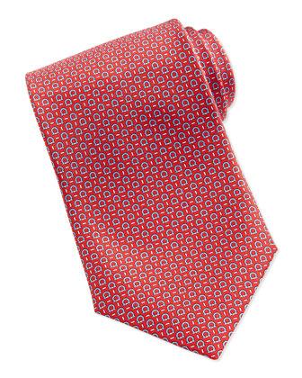Silk Woven Gancini Tie, Red/Blue