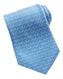 Whale Outline-Print Tie, Purple/Pink